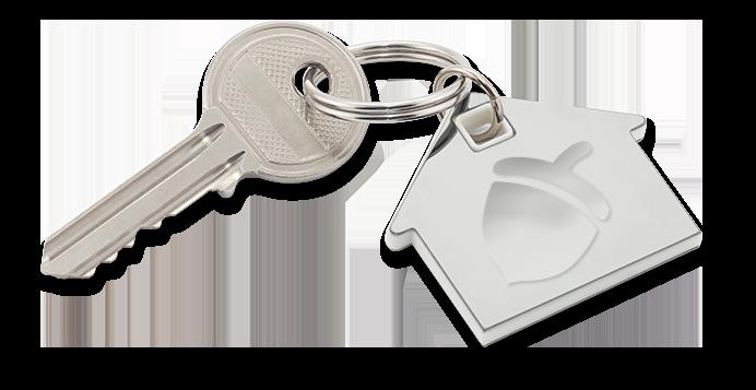 Key and acorn key ring